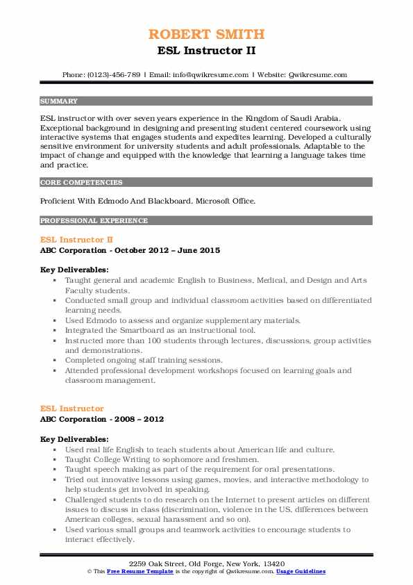 ESL Instructor II Resume Sample