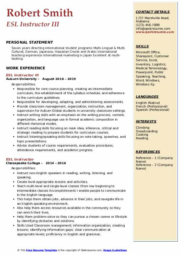 ESL Instructor III Resume Sample