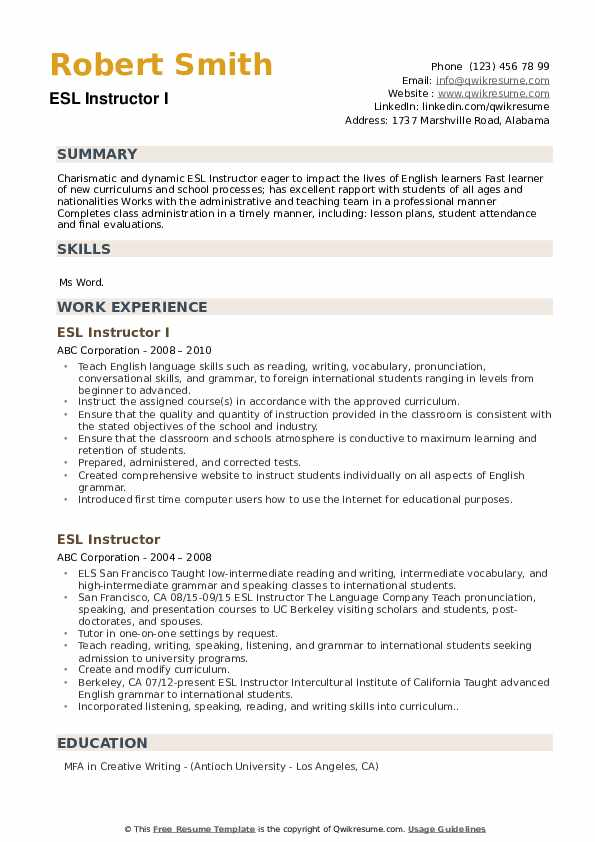 ESL Instructor I Resume Example