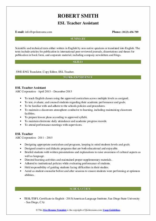 ESL Teacher Assistant Resume Sample