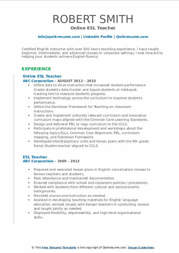 Online ESL Teacher Resume Format