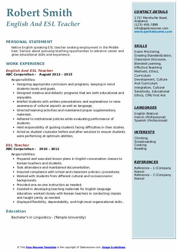 Esl Teacher Resume Samples Qwikresume