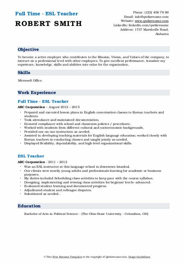 Full Time - ESL Teacher Resume Sample