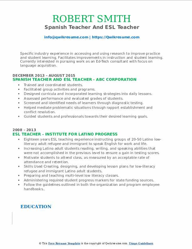 Spanish Teacher And ESL Teacher Resume Format