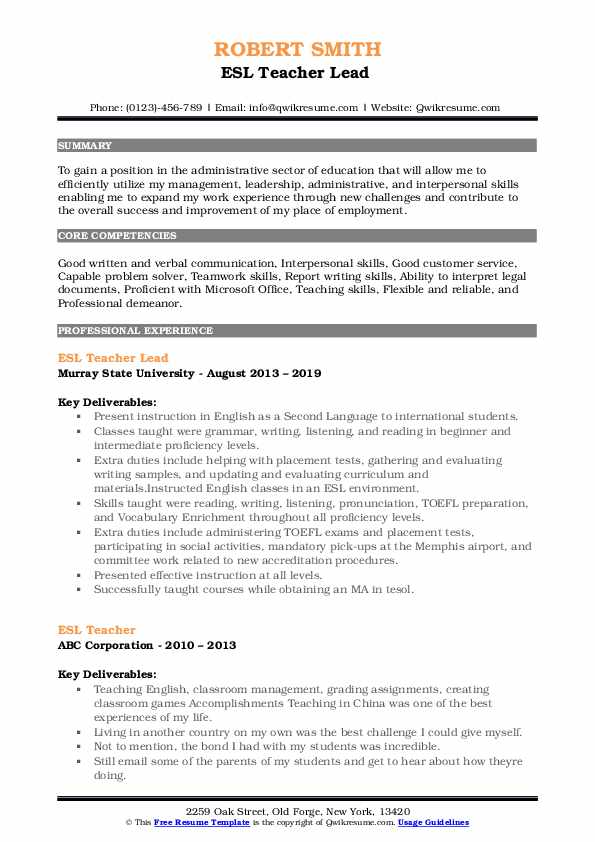 ESL Teacher Lead  Resume Template