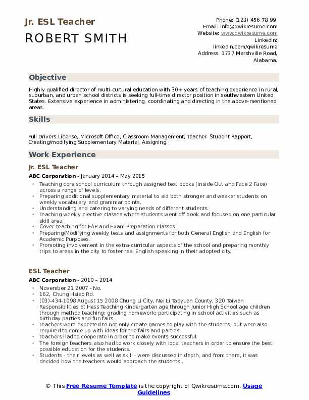 Jr. ESL Teacher Resume Sample
