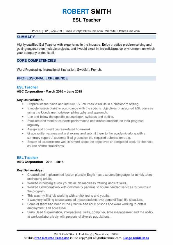 ESL Teacher Resume example