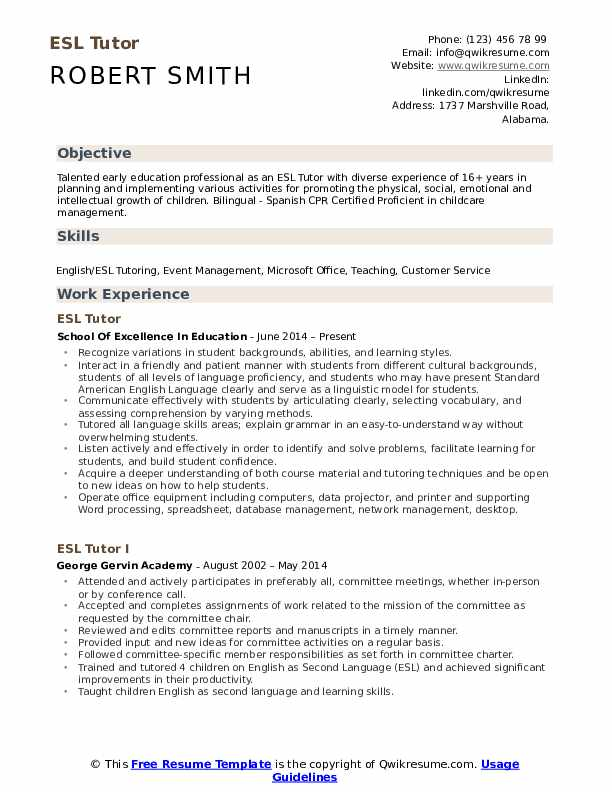 ESL Tutor Resume Format