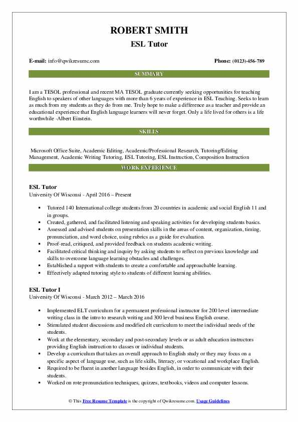 ESL Tutor Resume Model