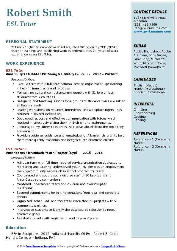 esl tutor resume samples