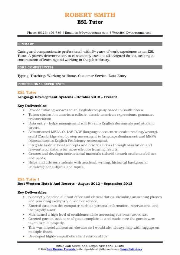 ESL Tutor Resume Format