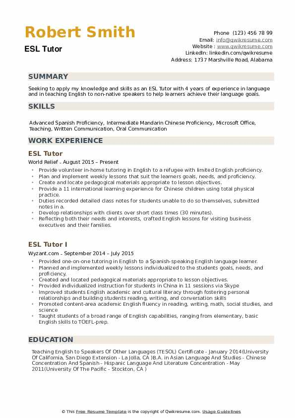 ESL Tutor Resume Example