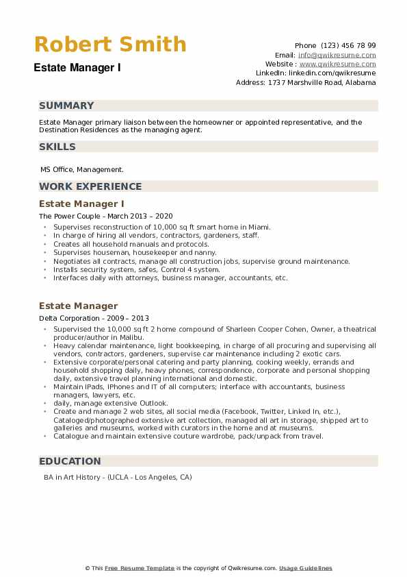 Estate Manager Resume example