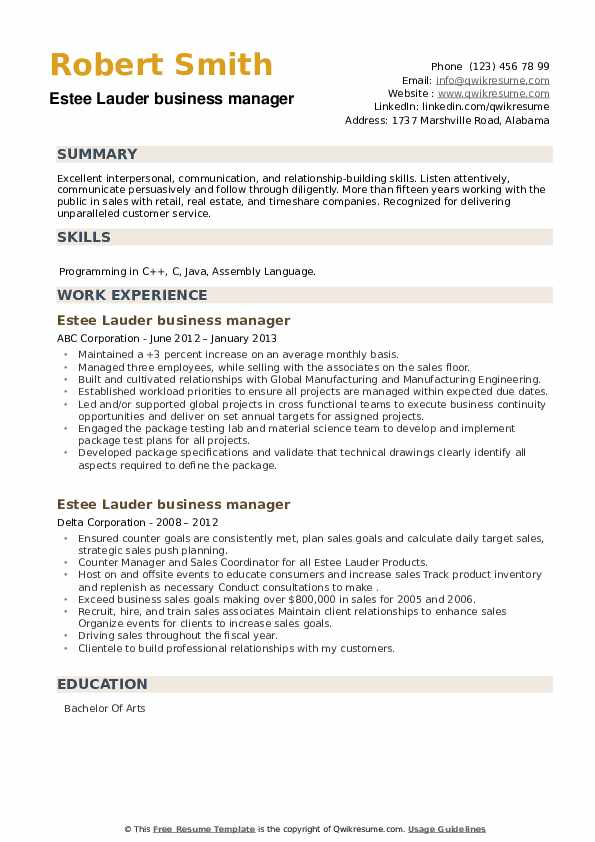 Estee Lauder business manager Resume example