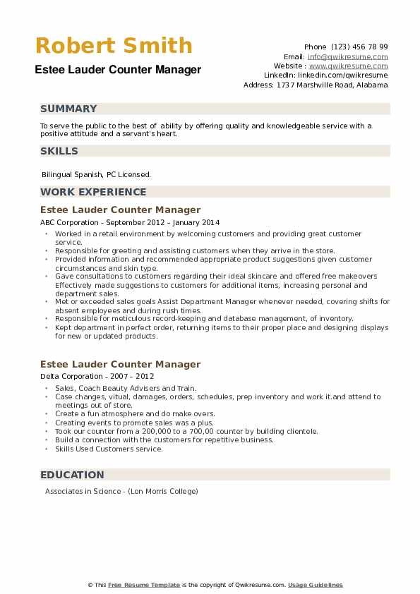Estee Lauder Counter Manager Resume example