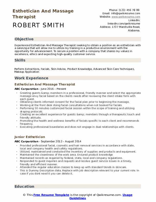 Esthetician And Massage Therapist Resume Format