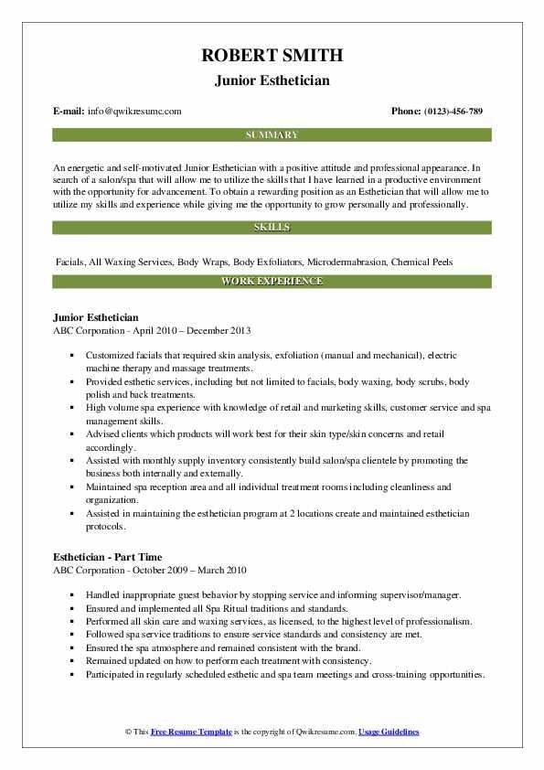 Junior Esthetician Resume Format