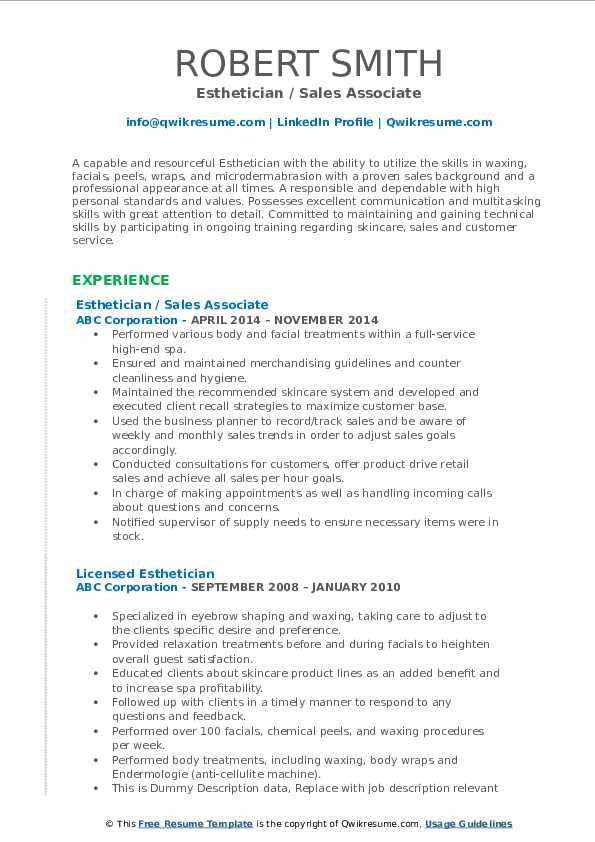 Esthetician / Sales Associate Resume Model
