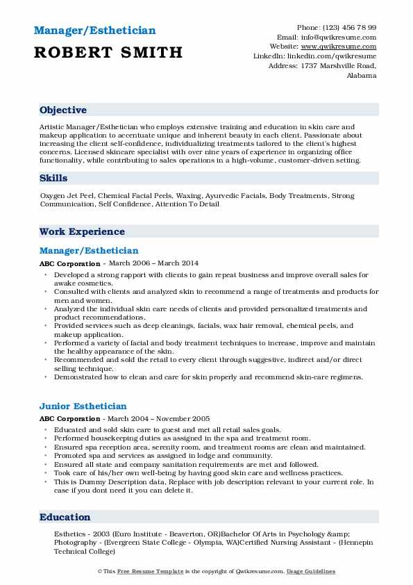 Manager/Esthetician Resume Template