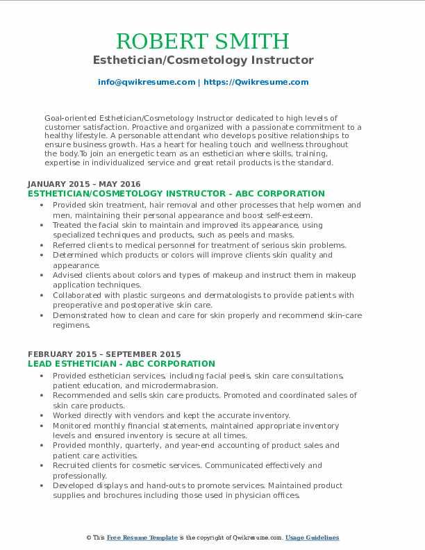 Esthetician/Cosmetology Instructor Resume Model