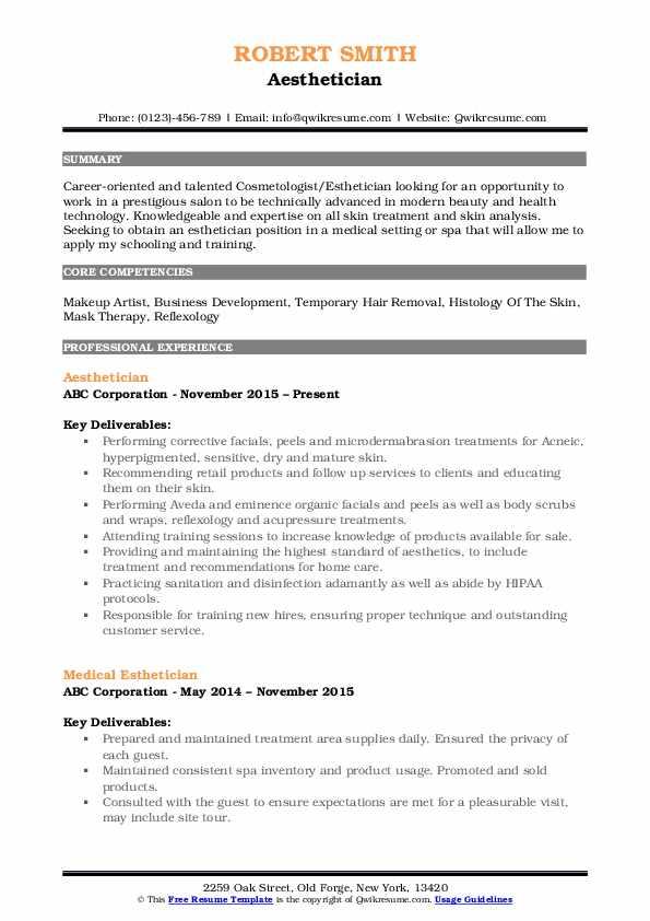 Aesthetician Resume Model