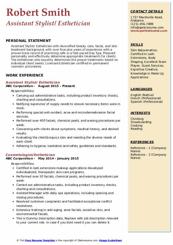 Assistant Stylist/ Esthetician Resume Example
