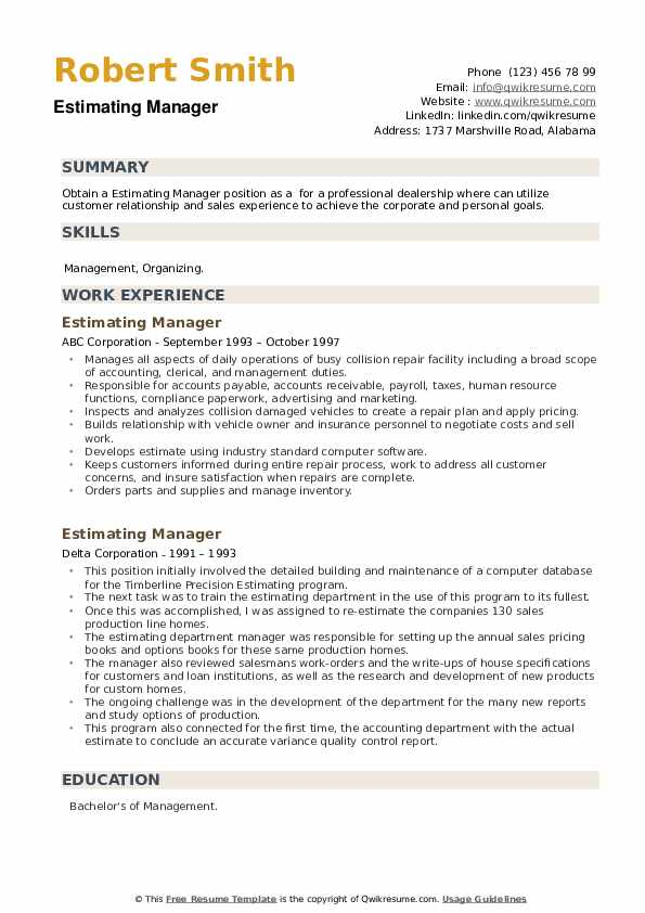 Estimating Manager Resume example