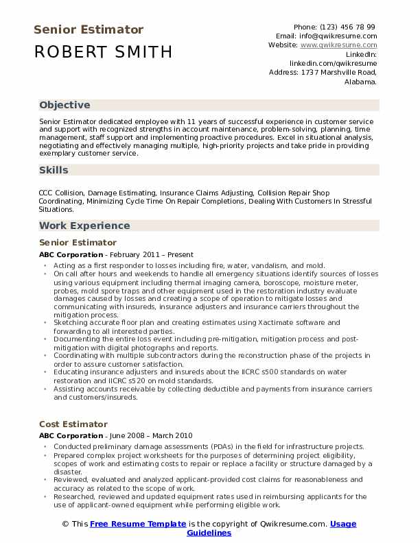 Estimator Resume Samples | QwikResume