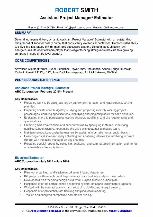 Assistant Project Manager/ Estimator Resume Model