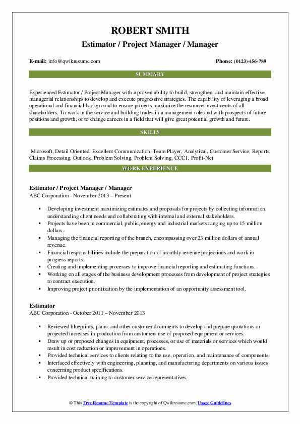 Estimator / Project Manager / Manager Resume Model
