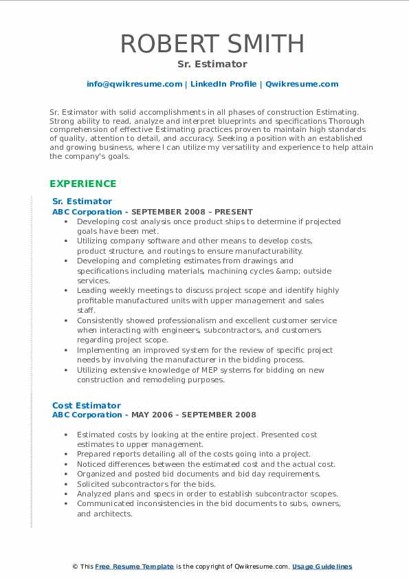 Estimator Resume Samples Qwikresume