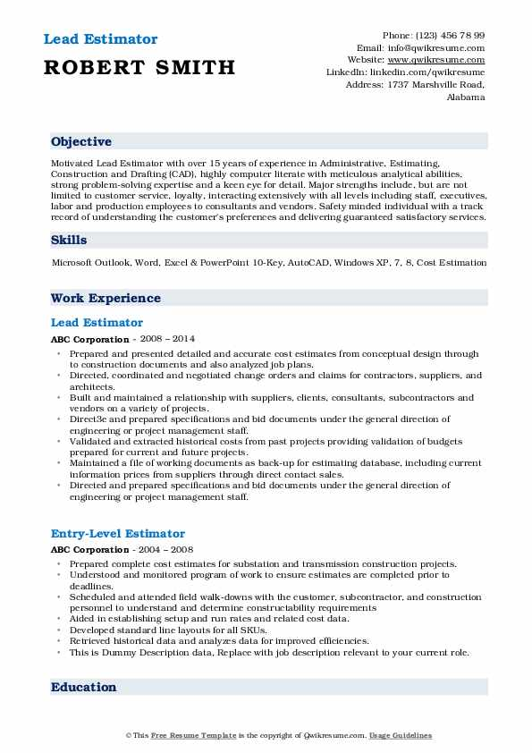 Lead Estimator Resume Model