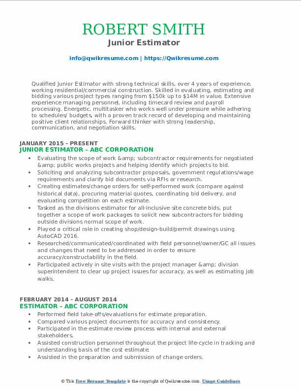 Junior Estimator Resume Example