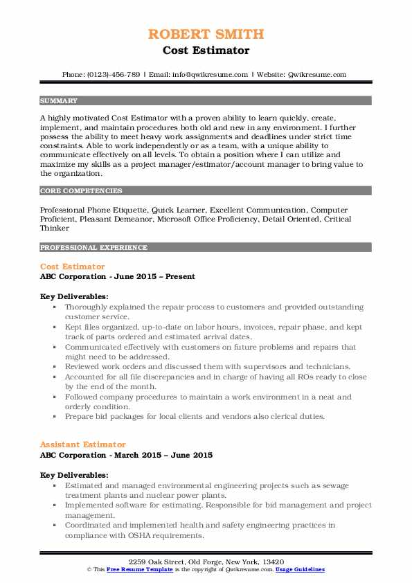 Cost Estimator Resume Example