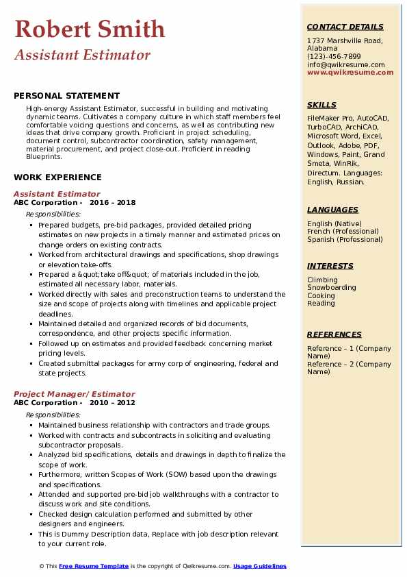 Assistant Estimator Resume Example
