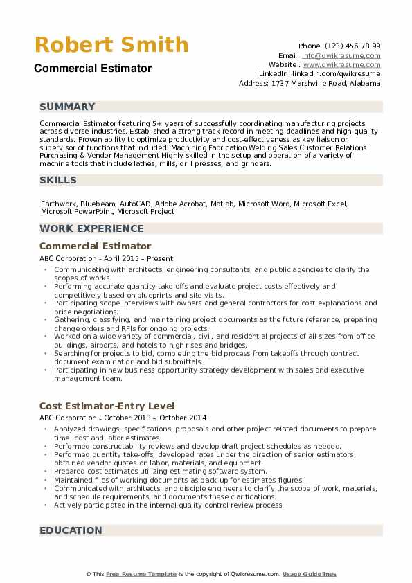 Estimator Resume example