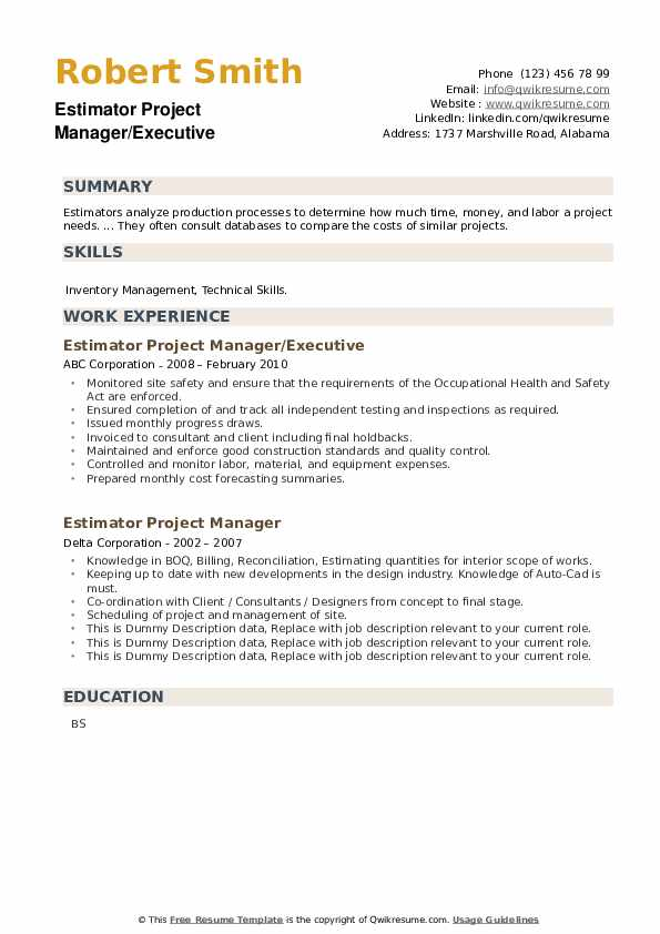 Estimator Project Manager Resume example