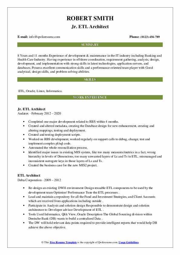 etl architect resume