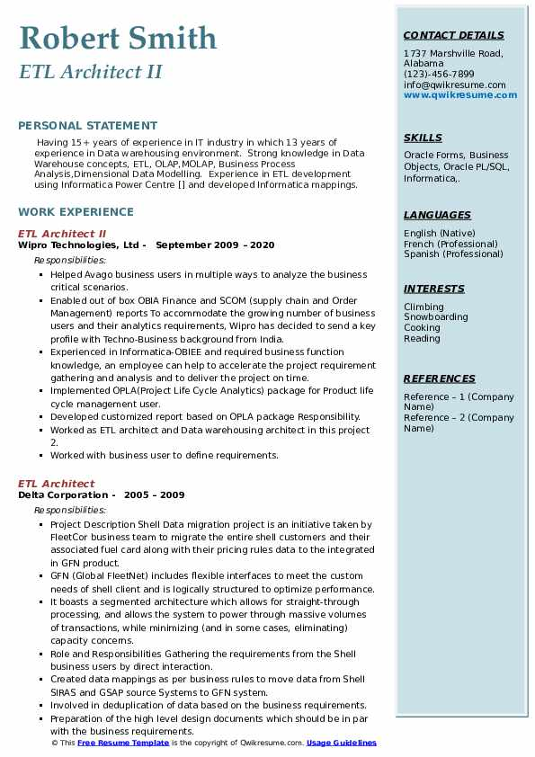 Etl architect resume career counselor resume objective
