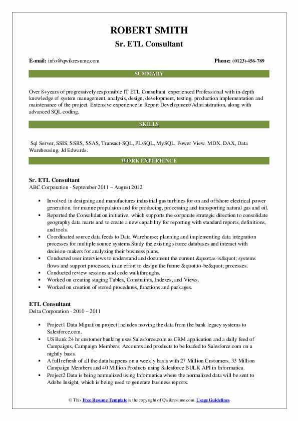 etl consultant resume samples  qwikresume