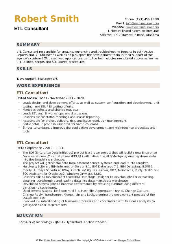 ETL Consultant Resume example