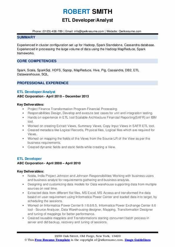 ETL Developer/Analyst Resume Example