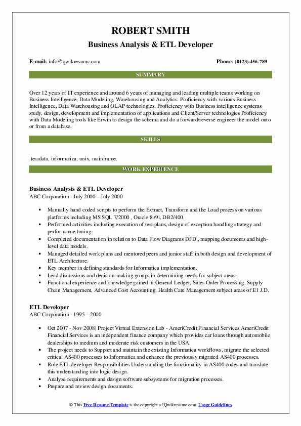 Business Analysis & ETL Developer Resume Example