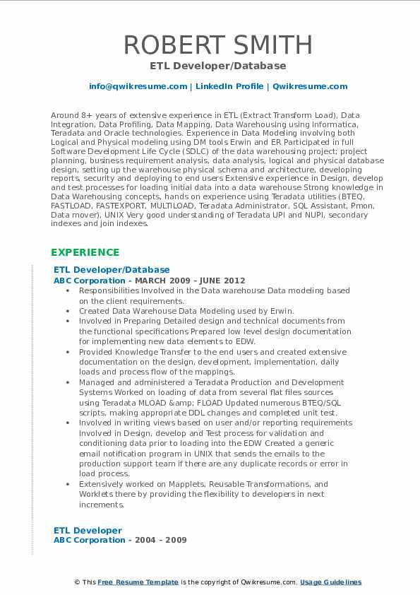 ETL Developer/Database Resume Format