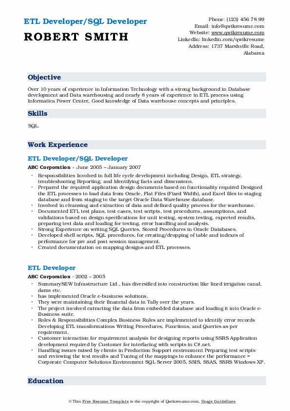 ETL Developer/SQL Developer Resume Example