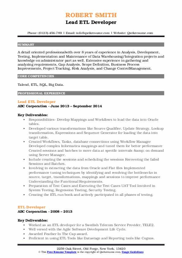 Lead ETL Developer Resume Format