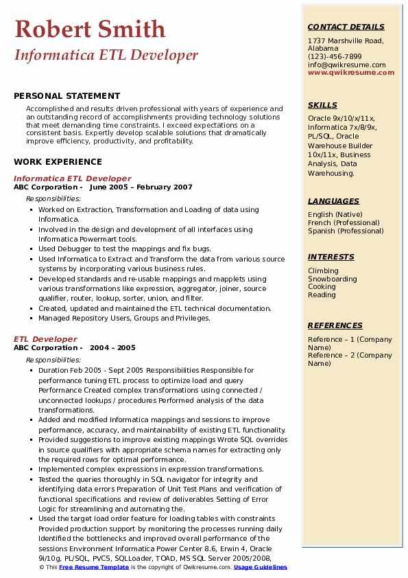 Informatica ETL Developer Resume Model