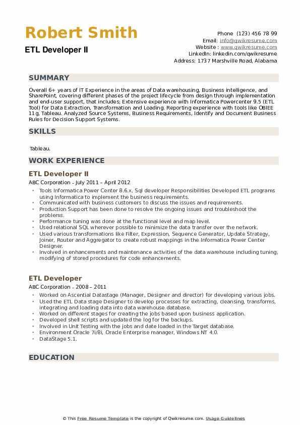 ETL Developer II Resume Model