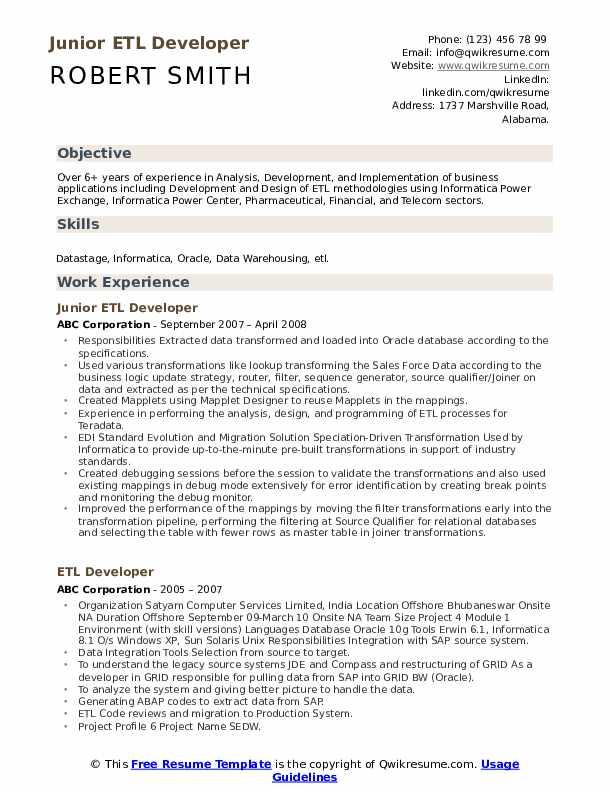 Junior ETL Developer Resume Format