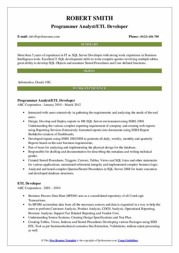 Programmer Analyst/ETL Developer Resume Model